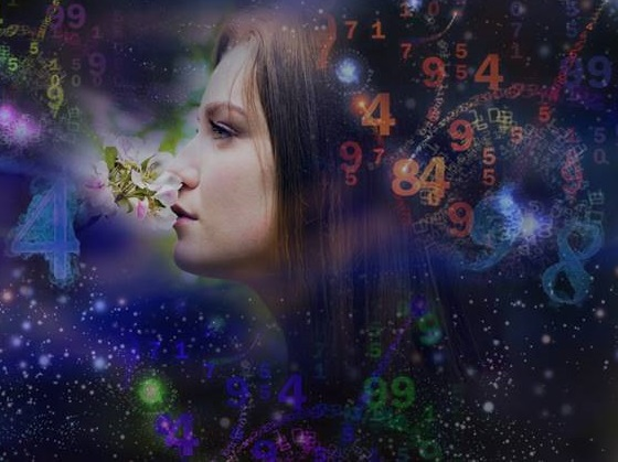 Woman's face, magic of figures, numerology