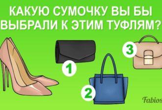 Тест. Какую сумочку вы бы выбрали к этим туфлям? Ответьте и узнайте, насколько у вас хороший вкус!